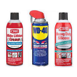 displayed cans of lubricant options